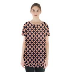 Circles3 Black Marble & Natural Red Birch Wood Skirt Hem Sports Top by trendistuff