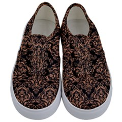 Damask1 Black Marble & Natural Red Birch Wood Kids  Classic Low Top Sneakers