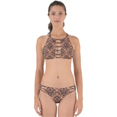 Damask1 Black Marble & Natural Red Birch Wood (r) Perfectly Cut Out Bikini Set