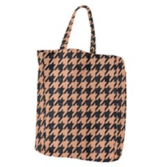 Houndstooth1 Black Marble & Natural Red Birch Wood Giant Grocery Zipper Tote