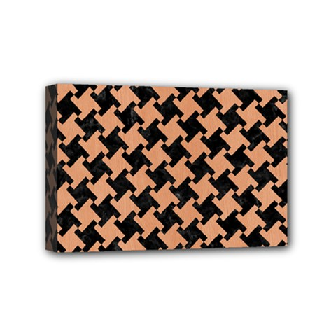 Houndstooth2 Black Marble & Natural Red Birch Wood Mini Canvas 6  X 4  by trendistuff