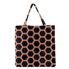 Hexagon2 Black Marble & Natural Red Birch Wood Grocery Tote Bag by trendistuff