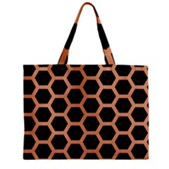 Hexagon2 Black Marble & Natural Red Birch Wood Zipper Mini Tote Bag by trendistuff