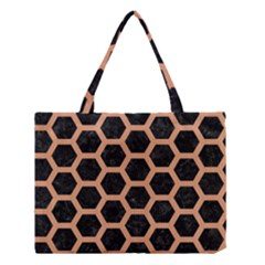 Hexagon2 Black Marble & Natural Red Birch Wood Medium Tote Bag by trendistuff