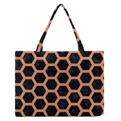 Hexagon2 Black Marble & Natural Red Birch Wood Zipper Medium Tote Bag by trendistuff