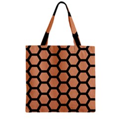 Hexagon2 Black Marble & Natural Red Birch Wood (r) Zipper Grocery Tote Bag
