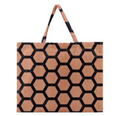 Hexagon2 Black Marble & Natural Red Birch Wood (r) Zipper Large Tote Bag by trendistuff