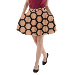 Hexagon2 Black Marble & Natural Red Birch Wood (r) A Line Pocket Skirt by trendistuff