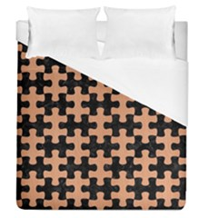 Puzzle1 Black Marble & Natural Red Birch Wood Duvet Cover (queen Size) by trendistuff