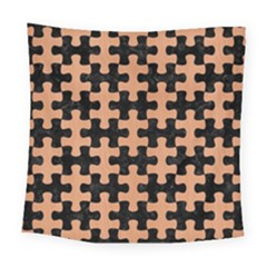 Puzzle1 Black Marble & Natural Red Birch Wood Square Tapestry (large) by trendistuff