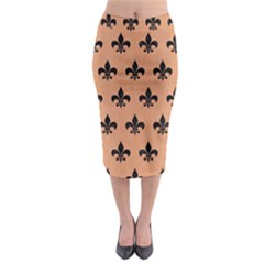 Royal1 Black Marble & Natural Red Birch Wood Midi Pencil Skirt by trendistuff