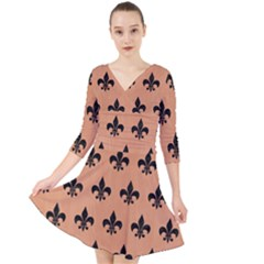 Royal1 Black Marble & Natural Red Birch Wood Quarter Sleeve Front Wrap Dress