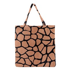 Skin1 Black Marble & Natural Red Birch Wood Grocery Tote Bag by trendistuff