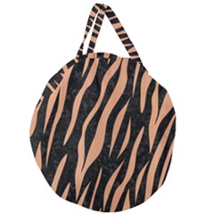 Skin3 Black Marble & Natural Red Birch Wood Giant Round Zipper Tote