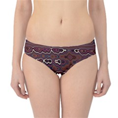 Hippy Boho Chestnut Warped Pattern Hipster Bikini Bottoms by KirstenStar