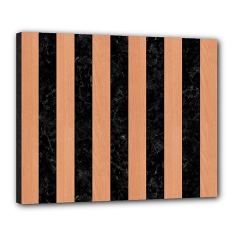 Stripes1 Black Marble & Natural Red Birch Wood Canvas 20  X 16  by trendistuff