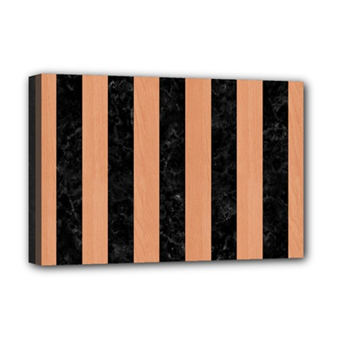 Stripes1 Black Marble & Natural Red Birch Wood Deluxe Canvas 18  X 12   by trendistuff