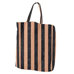 Stripes1 Black Marble & Natural Red Birch Wood Giant Grocery Zipper Tote by trendistuff