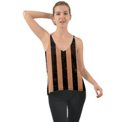Stripes1 Black Marble & Natural Red Birch Wood Cami