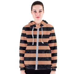 Stripes2 Black Marble & Natural Red Birch Wood Women s Zipper Hoodie