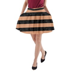 Stripes2 Black Marble & Natural Red Birch Wood A Line Pocket Skirt by trendistuff