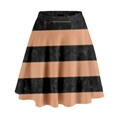 Stripes2 Black Marble & Natural Red Birch Wood High Waist Skirt by trendistuff