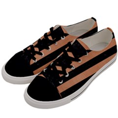 Stripes2 Black Marble & Natural Red Birch Wood Men s Low Top Canvas Sneakers by trendistuff