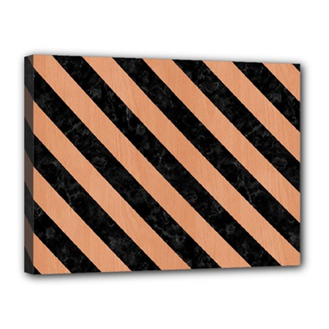 Stripes3 Black Marble & Natural Red Birch Wood (r) Canvas 16  X 12  by trendistuff