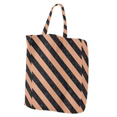 Stripes3 Black Marble & Natural Red Birch Wood (r) Giant Grocery Zipper Tote by trendistuff