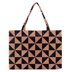 Triangle1 Black Marble & Natural Red Birch Wood Zipper Medium Tote Bag by trendistuff