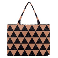 Triangle3 Black Marble & Natural Red Birch Wood Zipper Medium Tote Bag by trendistuff