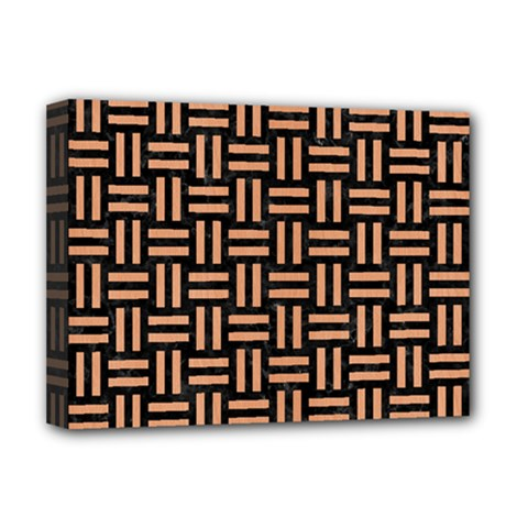 Woven1 Black Marble & Natural Red Birch Wood Deluxe Canvas 16  X 12   by trendistuff
