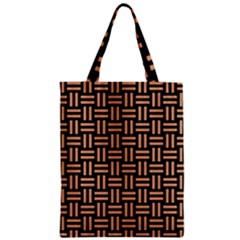 Woven1 Black Marble & Natural Red Birch Wood Zipper Classic Tote Bag by trendistuff