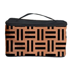 Woven1 Black Marble & Natural Red Birch Wood (r) Cosmetic Storage Case by trendistuff