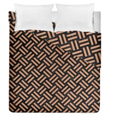 Woven2 Black Marble & Natural Red Birch Wood Duvet Cover Double Side (queen Size)
