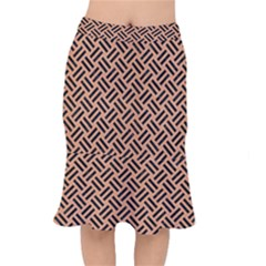Woven2 Black Marble & Natural Red Birch Wood (r) Mermaid Skirt by trendistuff