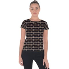 Brick1 Black Marble & Natural White Birch Wood Short Sleeve Sports Top