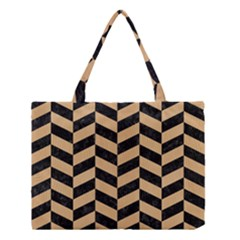 Chevron1 Black Marble & Natural White Birch Wood Medium Tote Bag by trendistuff