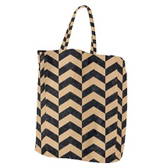 Chevron2 Black Marble & Natural White Birch Wood Giant Grocery Zipper Tote