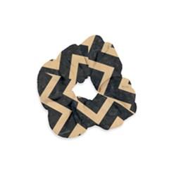 Chevron9 Black Marble & Natural White Birch Wood Velvet Scrunchie by trendistuff