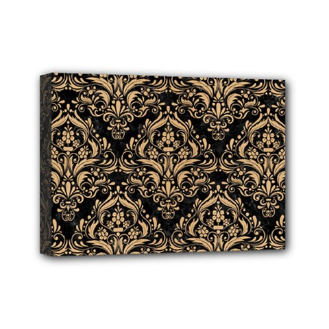 Damask1 Black Marble & Natural White Birch Wood Mini Canvas 7  X 5  by trendistuff