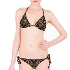 Damask1 Black Marble & Natural White Birch Wood Bikini Set