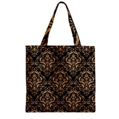 Damask1 Black Marble & Natural White Birch Wood Zipper Grocery Tote Bag by trendistuff