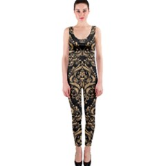 Damask1 Black Marble & Natural White Birch Wood Onepiece Catsuit by trendistuff