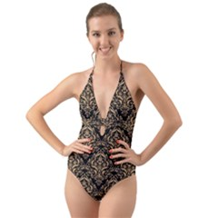 Damask1 Black Marble & Natural White Birch Wood Halter Cut Out One Piece Swimsuit