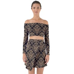Damask1 Black Marble & Natural White Birch Wood Off Shoulder Top With Skirt Set