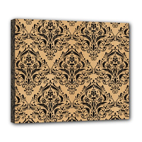 Damask1 Black Marble & Natural White Birch Wood (r) Deluxe Canvas 24  X 20   by trendistuff