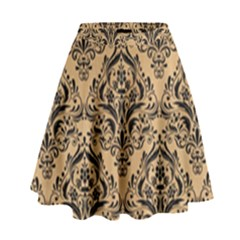 Damask1 Black Marble & Natural White Birch Wood (r) High Waist Skirt by trendistuff