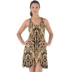 Damask1 Black Marble & Natural White Birch Wood (r) Show Some Back Chiffon Dress by trendistuff