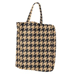 Houndstooth1 Black Marble & Natural White Birch Wood Giant Grocery Zipper Tote